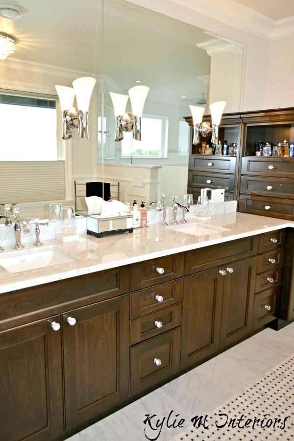 Double Vanity With Marble Countertop Dark Wood Crystal