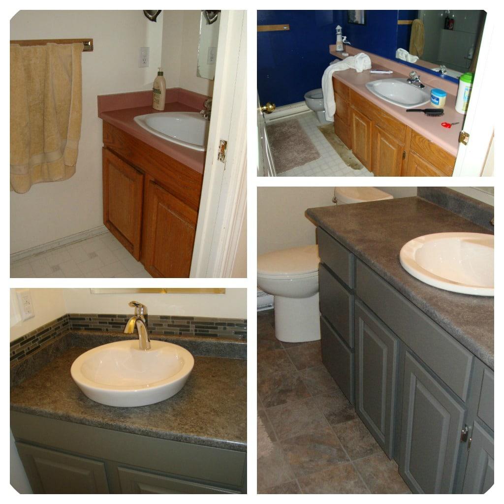 Painted bathroom oak cabinets