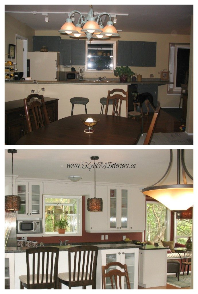 before and after white kitchen cabinet remodel with