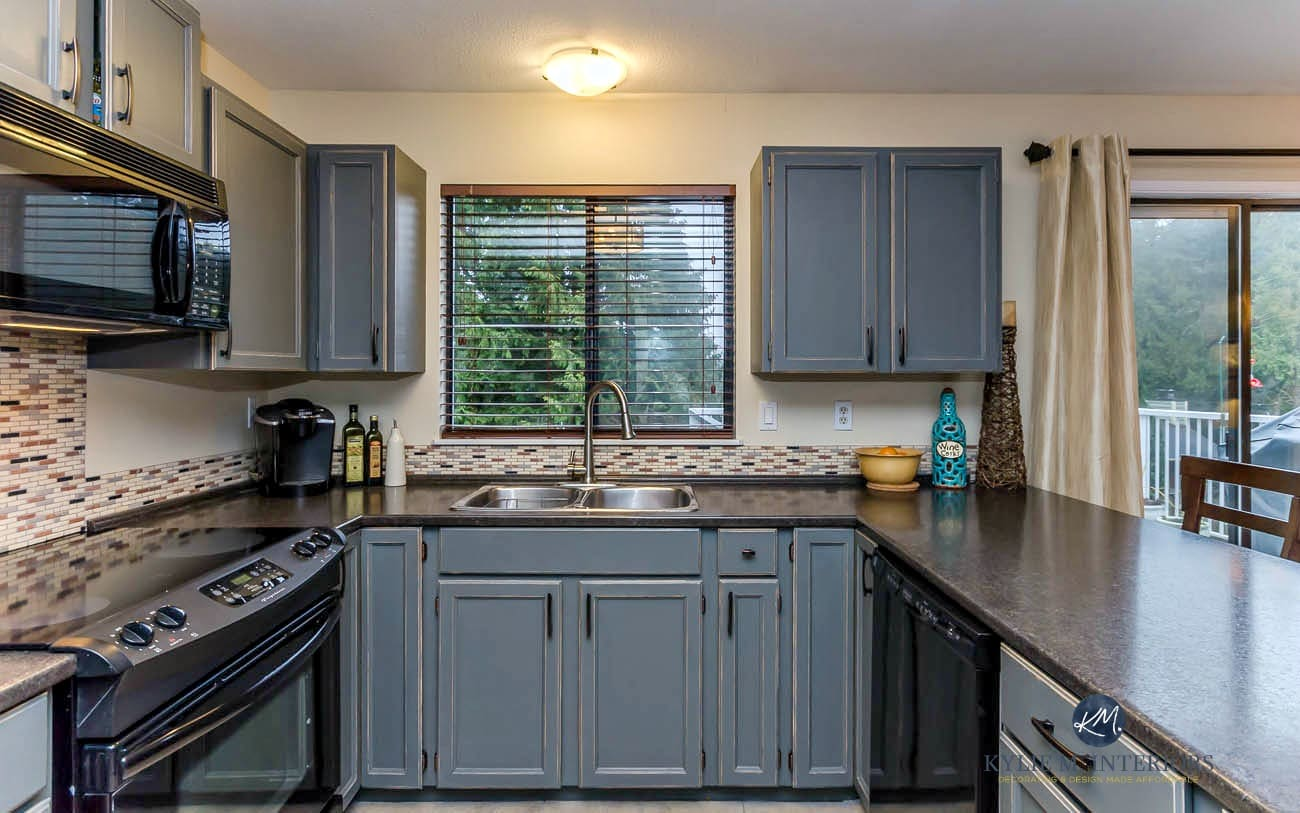 how to paint kitchen cabinets grey white bench for table oak painted with benjamin moore chelsea