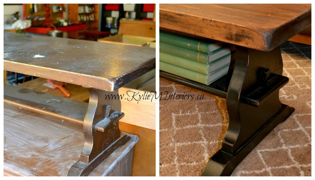 Before And After Trestle Style Coffee Table Stained With