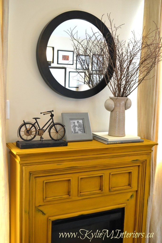 living room decorating with dark furniture black and white accessories for painted electric fireplace using van gogh yellow chalk ...