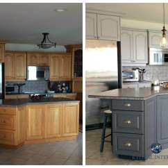 How To Paint Kitchen Cabinets Grey Antique White Before And After Painted Oak In Gray