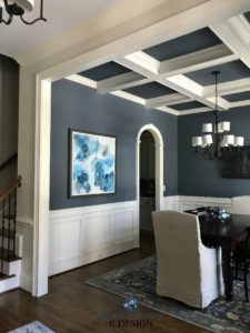 Dining Room wainscoting Sherwin Williams Wall Street Coffered ceilings Kylie M Interiors E