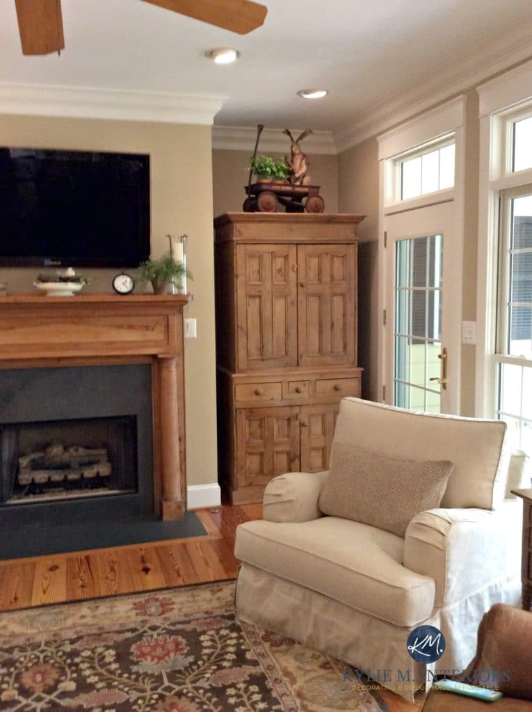 warm neutral colours for living room coastal themed ideas the 4 best benjamin moore paint undertones lenox tan in farmhouse style with oak pine and