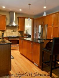 natural stained fir floors in kitchen with stained cherry ...