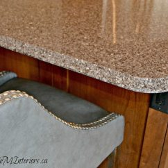 Virtual Remodel Kitchen Cheap Sink Faucets Speckled Quartz Countertop, Wood Cabinets And Gray Leather ...