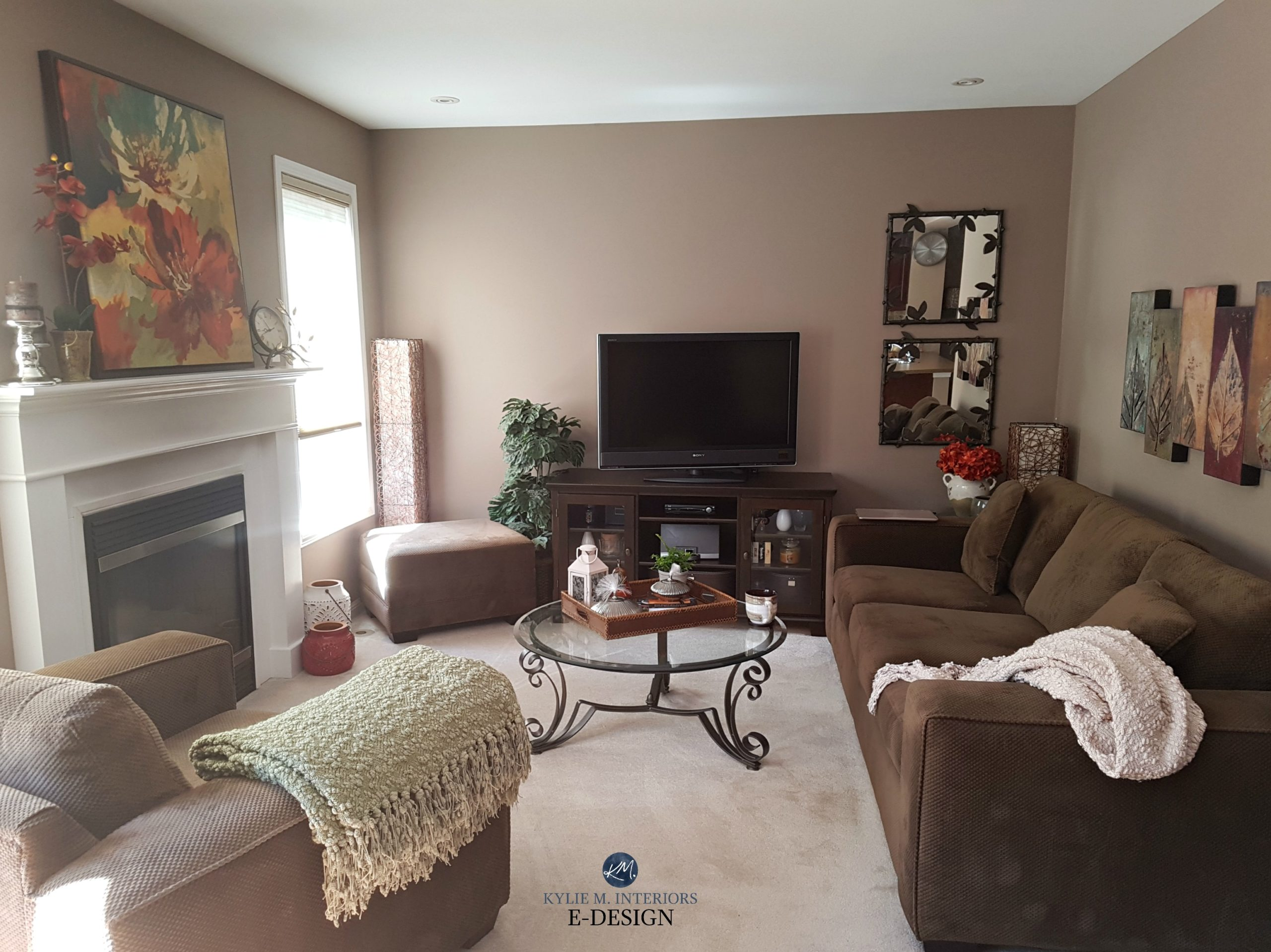 Benjamin Moore Weimaraner taupe paint colour in living