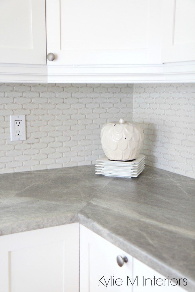 Hexagon shape subway tile backsplash soapstone sequoia countertops by formica and maple shaker