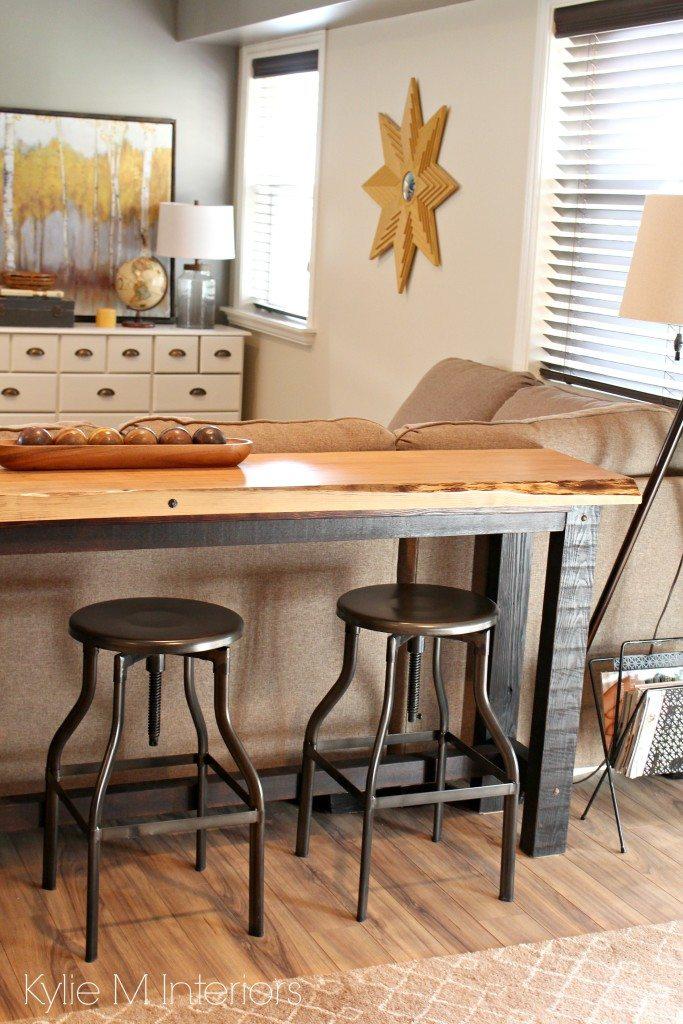 Decorating idea for family or media room Live edge wood