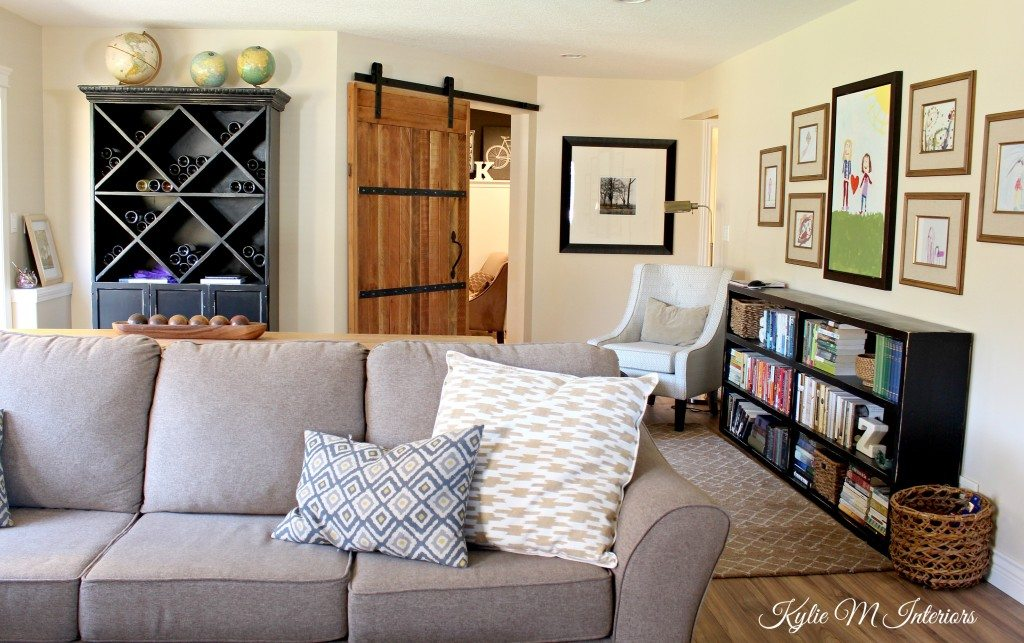 family room decorating ideas sliding barn door hardware kids art display gallery and