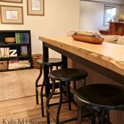 Dining Table And Sofa In Living Room Mcguire Union Live Edge Bar Behind Sectional With Industrial