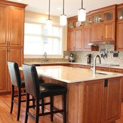 Kitchen Backsplash Trim Ideas Solid Wood Shaker Cabinets Cherry Cabinets, Cream Quartz Countertops, Small ...