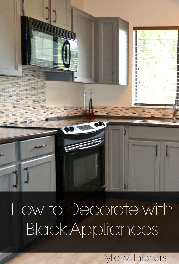 black kitchen appliances tables austin and white or gray cabinets how to make it work ideas for decorate a with including countertop backsplash tips