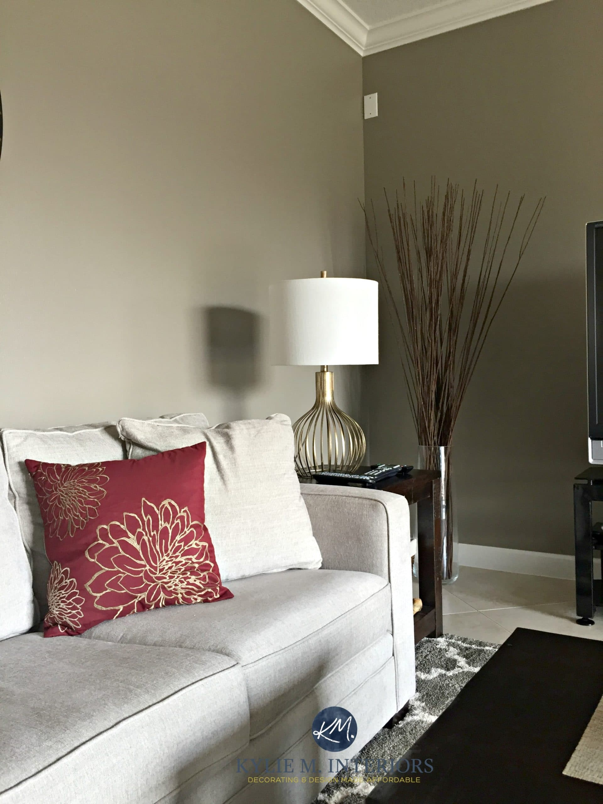 Keystone Gray Sherwin Williams Greige Couch Red Accents