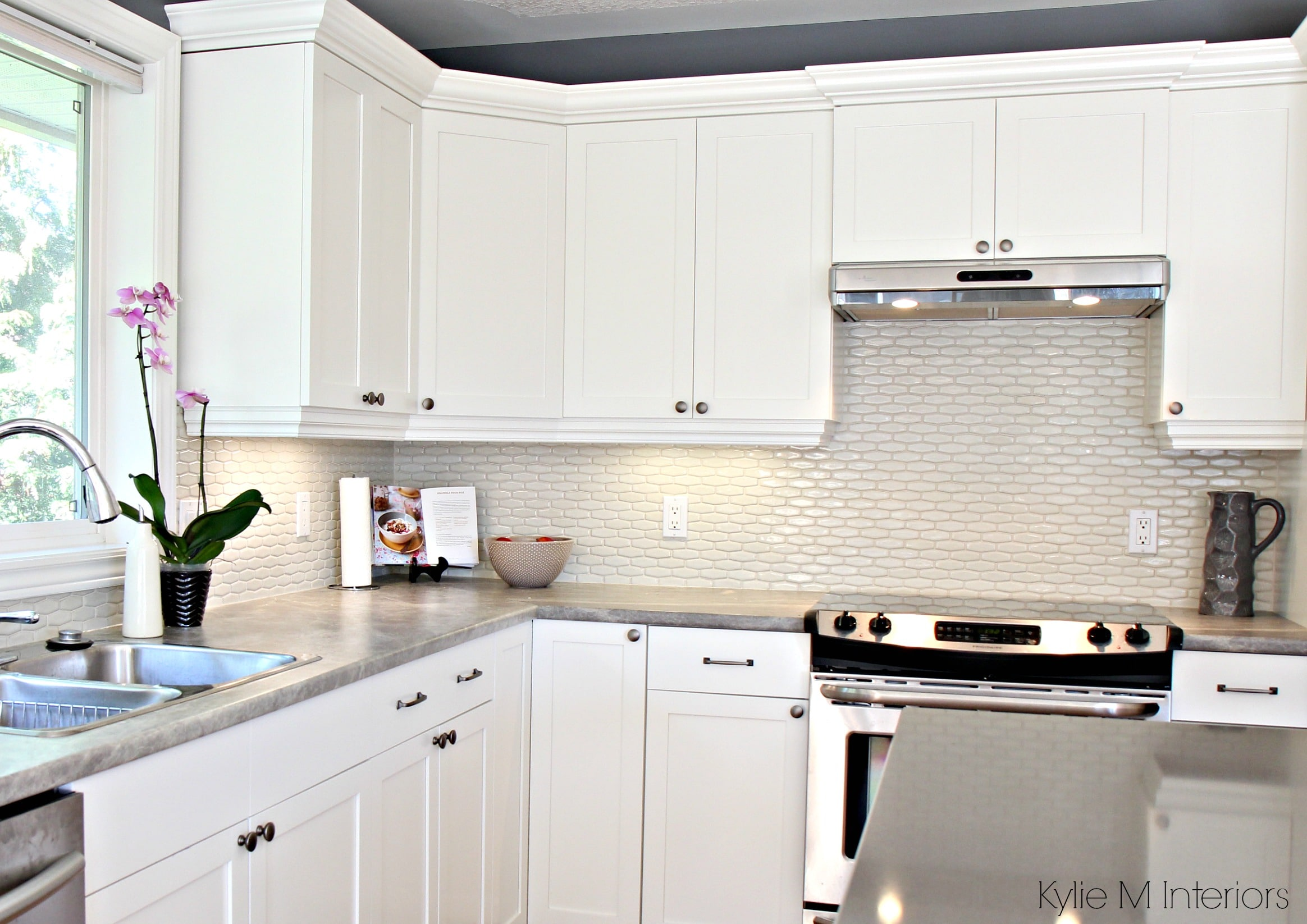 Maple cabinets painted Cloud White, Gray paint colour ... on What Color Backsplash With Maple Cabinets  id=66488