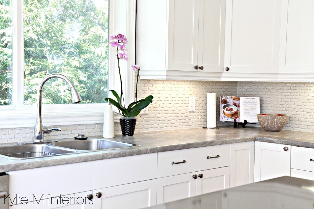 kitchen cabinet resurfacing island stools with backs hexagon subway tile backsplash. maple cabinets painted ...
