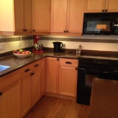 Blonde Kitchen Cabinets Diy Islands Our Painted Maple 2 Years Later Before Were And New Countertop Backsplash