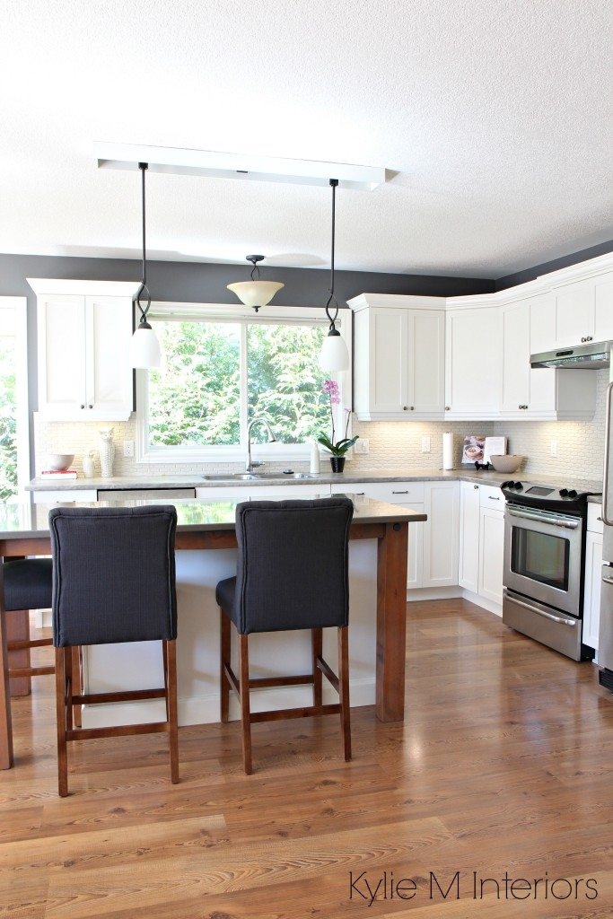 virtual kitchen makeover gray tile maple makeover. cabinets painted cloud white, ...
