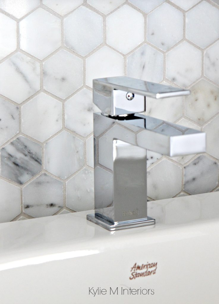 Marble hexagon pattern backsplash tile mosaic Shown with