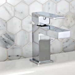 Kitchen Design Budget Open Sink Marble Hexagon Pattern Backsplash Tile, Mosaic. Shown With ...