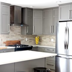 Black Kitchen Appliances Freestanding Cabinets And White Or Gray How To Make It Work Painted Benjamin Moore Amherst With Quartz Countertops Driftwood Marble Tile Backsplash