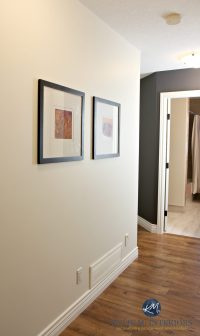 Sherwin Williams Creamy in a dark hallway with Benjamin