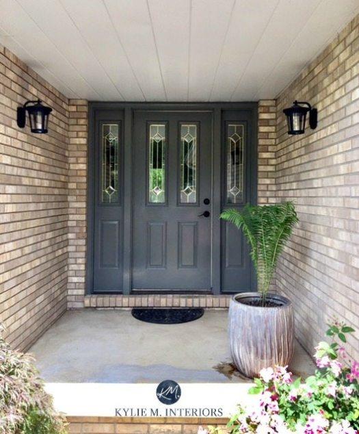Amherst Gray Benjamin Moore Front Door With Brick On Exterior Kylie M Interiors Color Expert