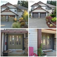 Exterior before and after with painted garage doors, front ...