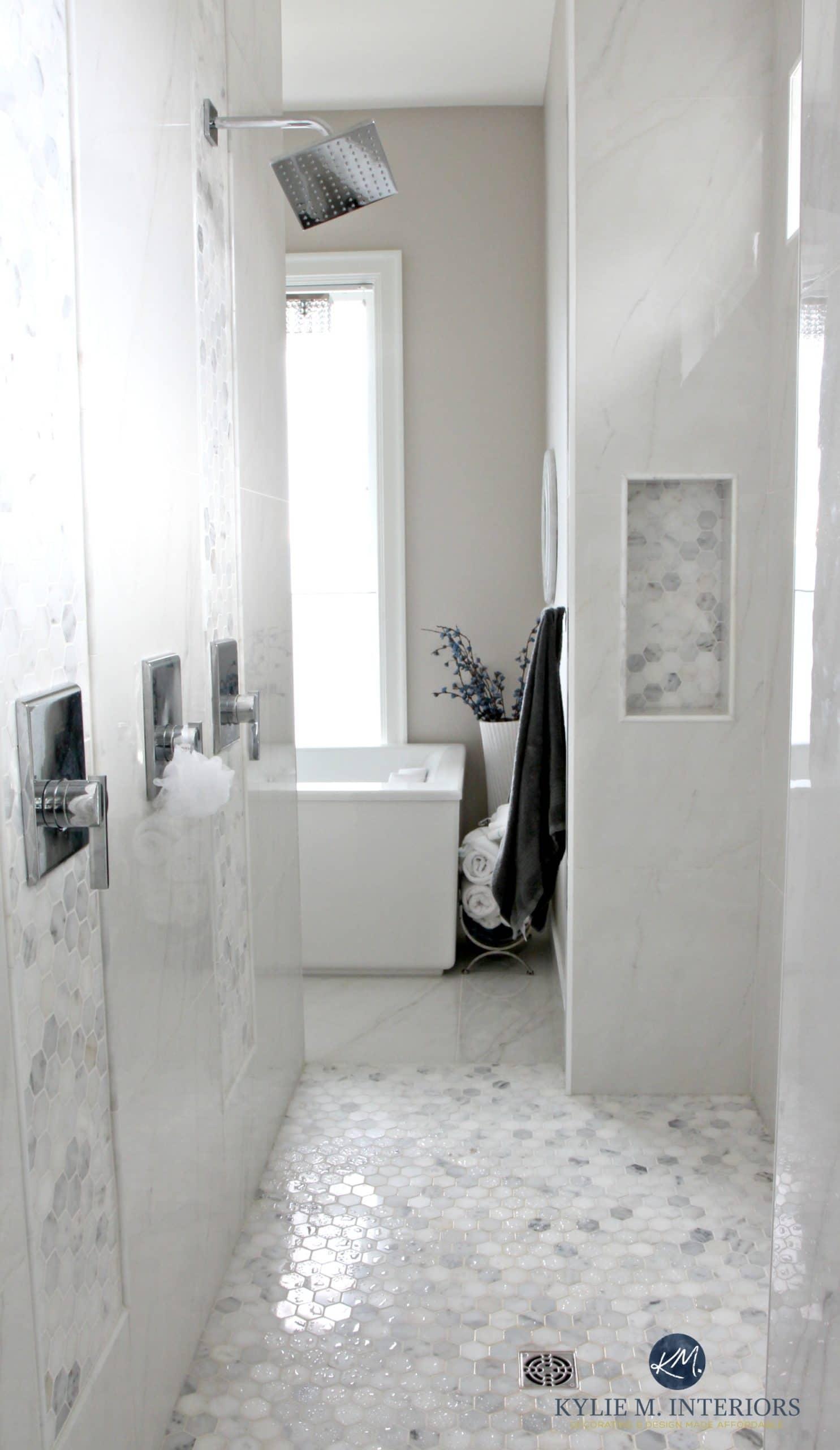 bathroomwithmarblewalkinshowerhexagontilefloor
