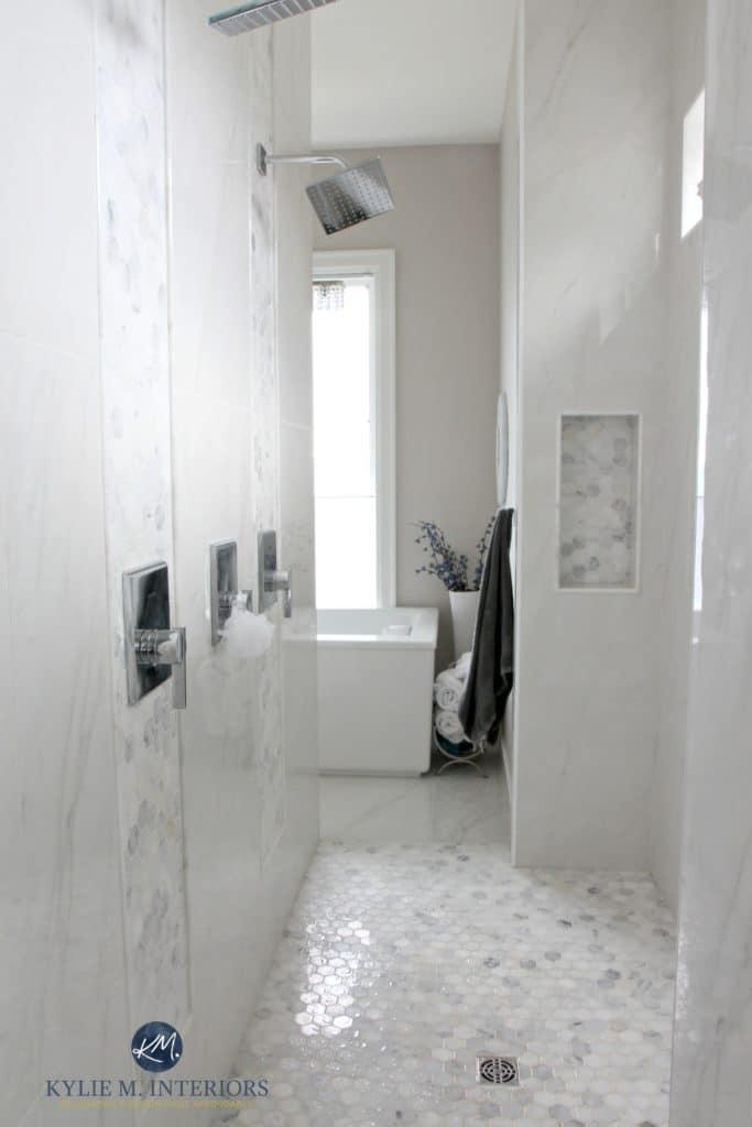 Walk In Shower In Master Ensuite Bathroom Marble Hexagon
