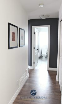 Hallway update with wood look laminate flooring, Sherwin