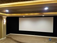Home theatre room screen with black acoustic fabric, beige ...