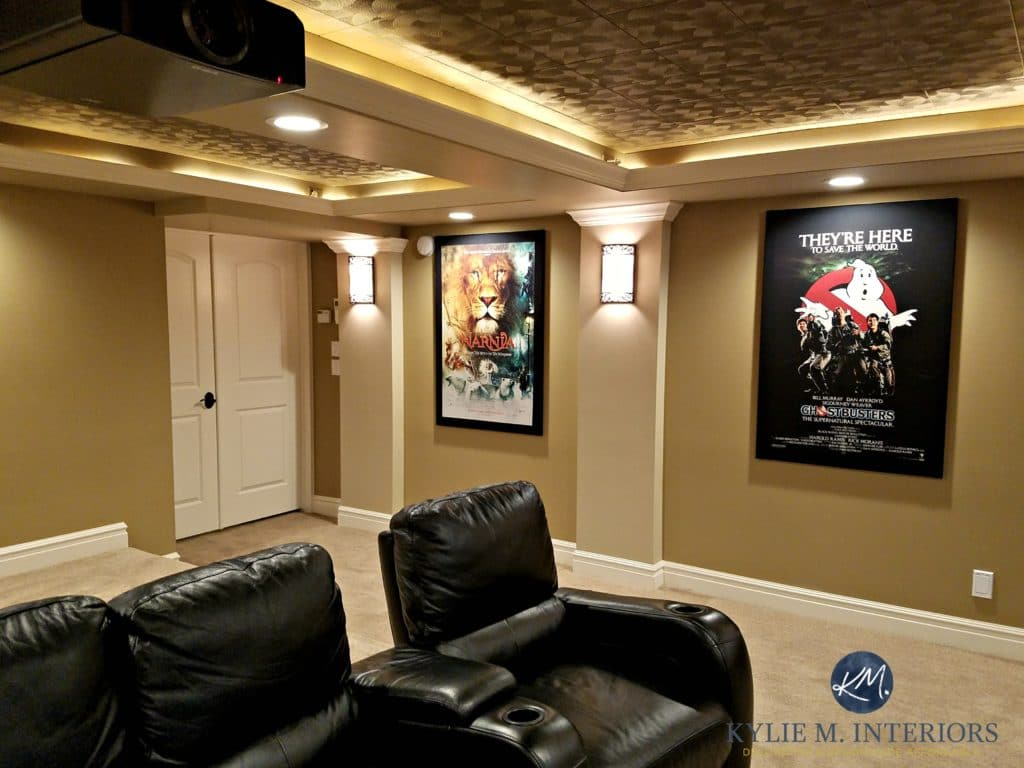 virtual remodel kitchen black countertops home theatre room with double doors, recliners ...