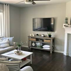 Living Rooms With Dark Wood Floors Room Framed Pictures Sherwin Williams Repose Gray In Family Or Flooring Kylie M Interiors Edesign Online Paint Consultant Client Before Photo