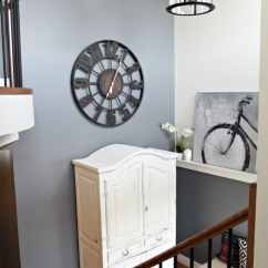 Virtual Remodel Kitchen Pantry Cabinets Freestanding 2 Storey Foyer, Entryway With Round Large Clock, White ...