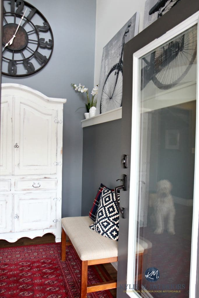 Foyer Entryway With White Wood Armoire For Kids Stuff