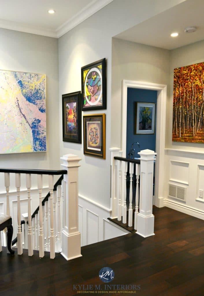 Stairwell with Benjamin Moore Stonington Gray white