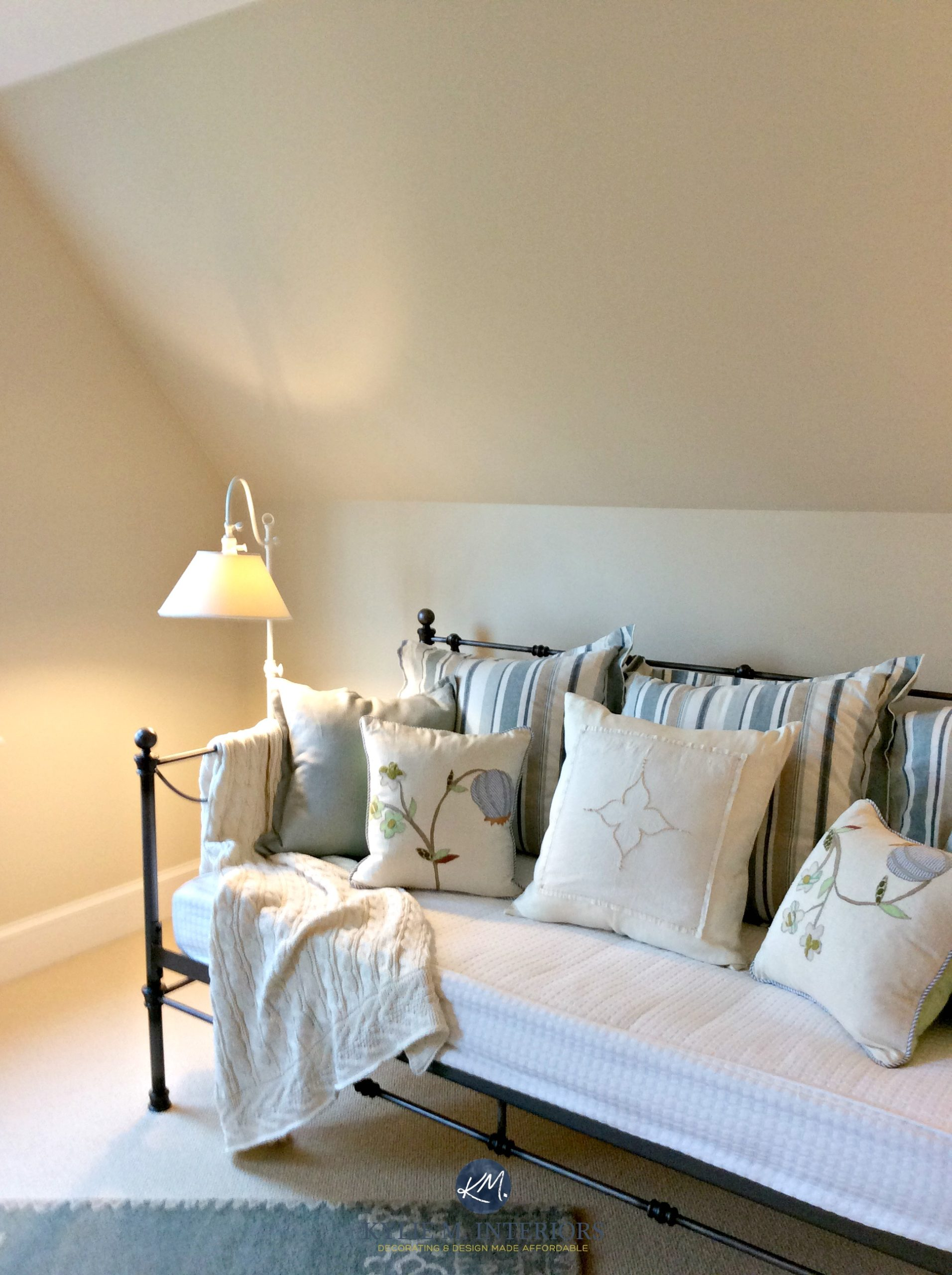 Benjamin Moore Gentle Cream In A Guest Bedroom Wtih Sloped