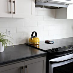 White Appliances Kitchen Fold Down Table Ideas Decorating With Painted Cabinets Budget Friendly Benjamin Moore Chelsea Gray Subway Tile And Black