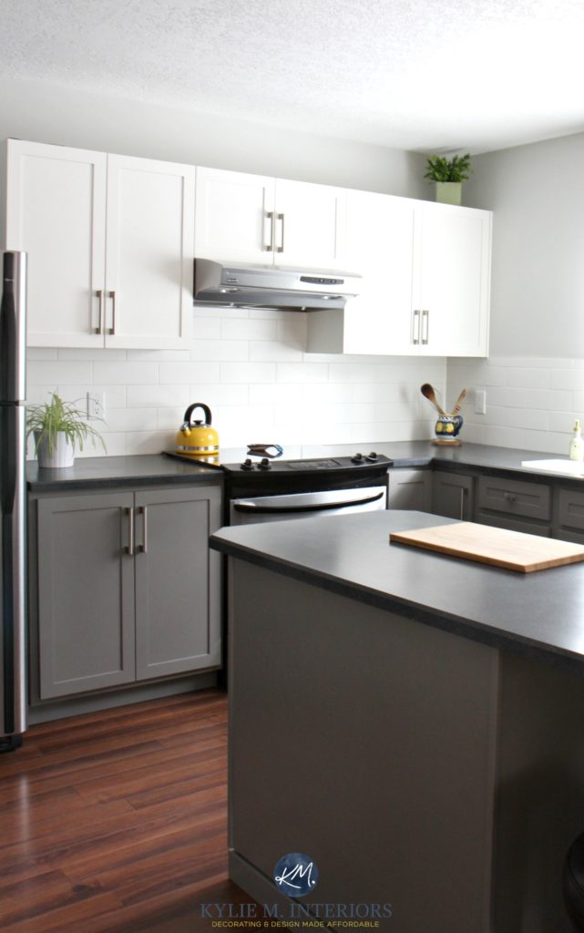 Painted kitchen cabinets with white and Benjamin Moore Chelsea Gray Gray Owl subway tile red