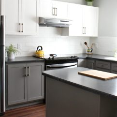 How To Paint Kitchen Cabinets Grey Islans Painted With White And Benjamin Moore