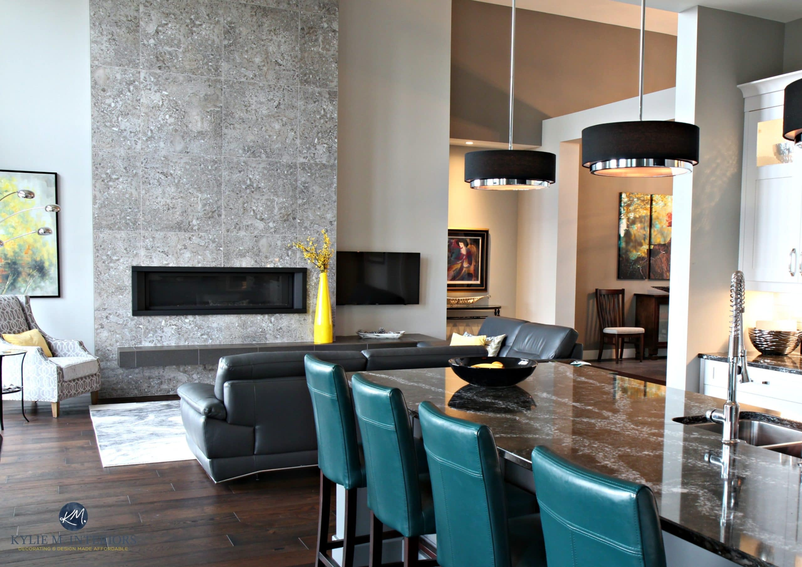 Contemporary Open Layout Kitchen Living Room Dining Room