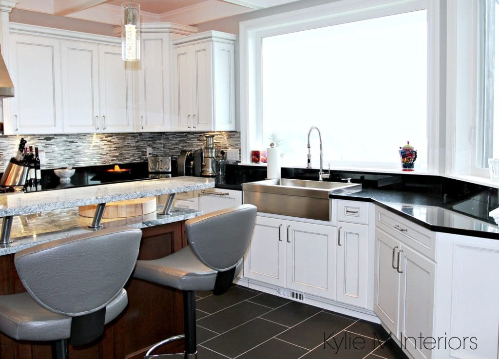 Kitchen With Black Countertops And White Cabinets Liberalx