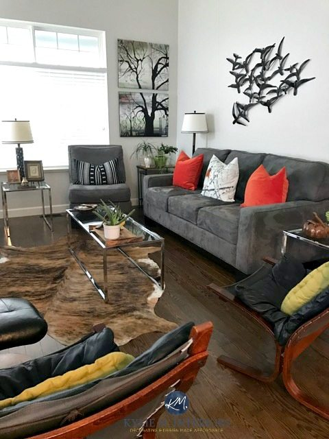 images of living rooms with gray couches room drapes ideas silver satin benjamin moore in couch chrome accents oak flooring and cowhide rug transitional style kylie m interiors e design