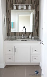 Small bathroom decorating idea. Glass mosaic tile on wall