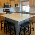 Ideas To Update Kitchen With Oak Wood Cabinets Painted Island Subway Tile Backsplash And Paint Colours Kylie M Interiors Edesign Online Paint Colour Expert