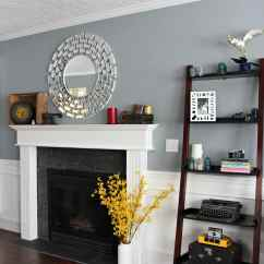 Living Room Online Ideas On Decor Sherwin Williams Network Gray In White Wainscoting Fireplace And Mantle Red Toned Wood Flooring Kylie M Interiors E Design Colour
