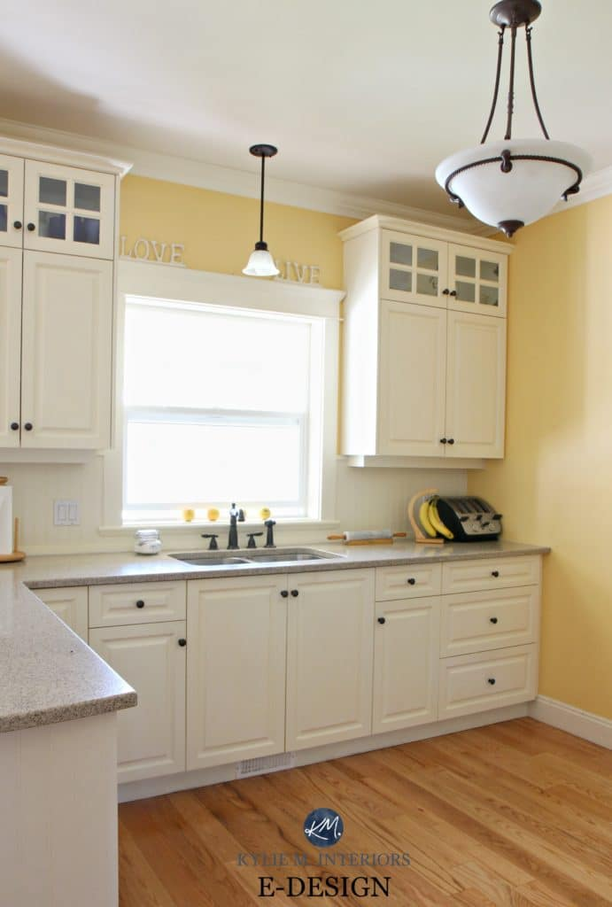 oak cabinets kitchen tops pompano 4 ideas how to update wood benjamin moore suntan yellow in with quartz painted cream similar white