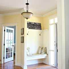 Best Yellow Paint Colors For Living Room Modern Furniture 2018 Colour Benjamin Moore Buttermilk Oak Flooring Country Style Foyer Entryway With Built In Bench And Hooks Kylie M E Design
